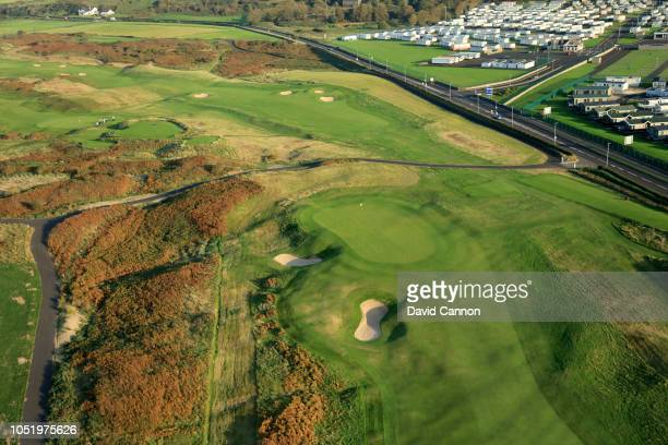 An aerial photograph of the green on the par 4, first hole 'Hughie's' on the Dunluce Links at Royal Portrush Golf Club the host venue for the 2019...