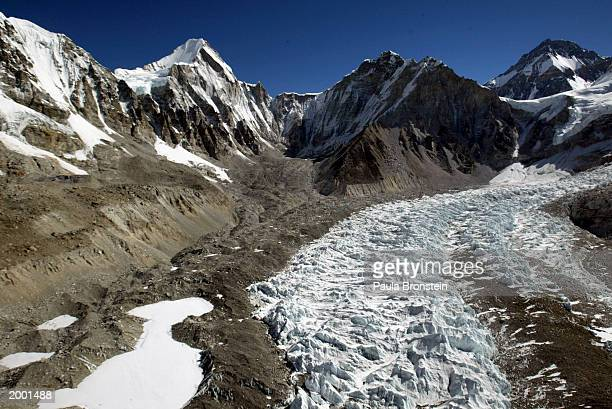 An aerial photograph of the Khumbu Icefall along Everest's West Shoulder including Changtse at 5200m and Khumbutse-6640m May 15, 2003 on the...