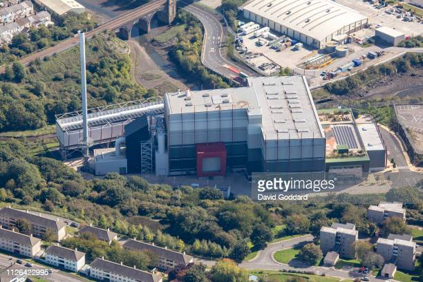 KINGDOM SEPTEMBER 2018 An aerial photograph of the MVV Energy from Waste plant Devonport located to the west of Plymouth close to the River Tamar on...