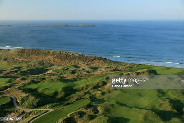 An aerial photograph of the par 3, sixth hole Harry Colts' to the left and the approach to the green on the par 4, fifth hole 'White Rocks' to the...