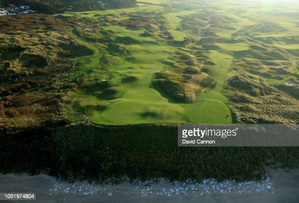 An aerial photograph of the par 3, sixth hole Harry Colts' to the right and the par 4, fifth hole 'White Rocks' to the left on the Dunluce Links at...