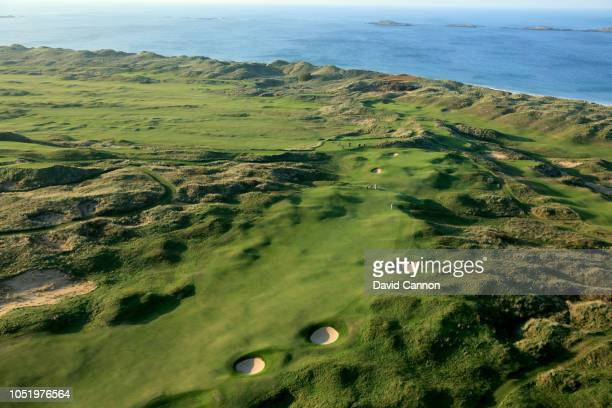 An aerial photograph of the par 4 15th hole 'Skerries' on the Dunluce Links at Royal Portrush Golf Club the host venue for the 2019 Open Championship...