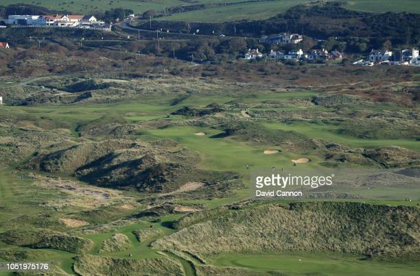 An aerial photograph of the par 4, eighth hole 'Dunluce' on the Dunluce Links at Royal Portrush Golf Club the host venue for the 2019 Open...