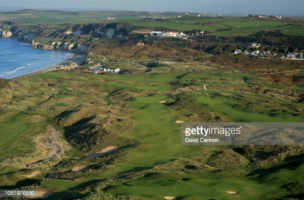 An aerial photograph of the par 4 eighth hole 'Dunluce' on the Dunluce Links at Royal Portrush Golf Club the host venue for the 2019 Open...