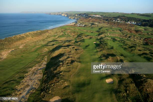 An aerial photograph of the par 4, eighth hole on the Dunluce Links at Royal Portrush Golf Club the host venue for the 2019 Open Championship on...