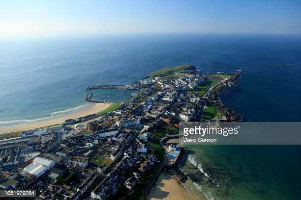 An aerial photograph of the town of Portrush from the town end of the Links at Royal Portrush Golf Club on October 10 2018 in Portrush Northern...
