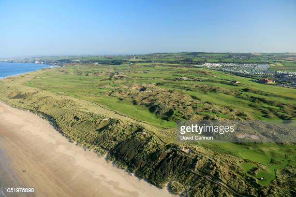 An aerial photograph of The Valley Links with the Dunluce Links and the clubhouse behind at Royal Portrush Golf Club on October 10, 2018 in Portrush,...