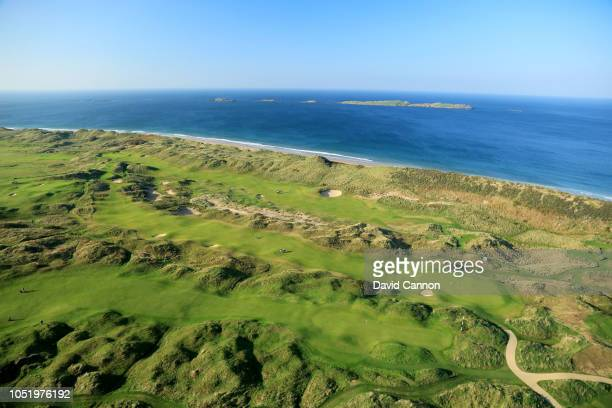 An aerial photograph of The Valley Links with the Skerries Rocks behind at Royal Portrush Golf Club on October 10, 2018 in Portrush, Northern Ireland.