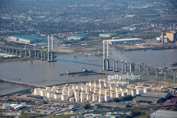 KINGDOM OCTOBER 2018 An aerial photograph of West Thurrock oil Storage Depot and the QEII bridge over the River Thames 18 miles west of Central...