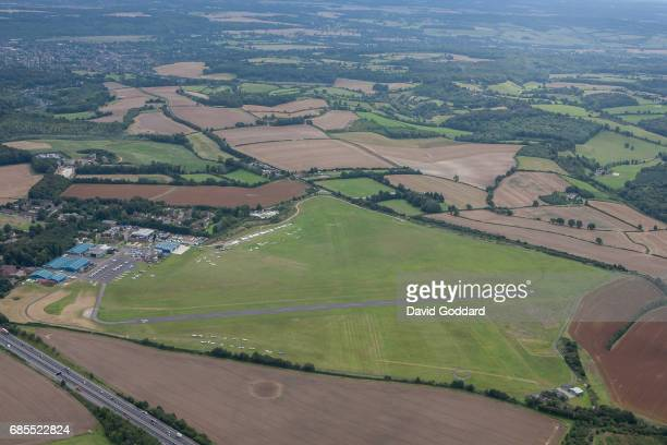BUCKINGHAMSHIRE ENGLAND AUGUST 25 An aerial photograph of Wycombe Air Park also known as Booker Airfield located between the M40 motorway and the...