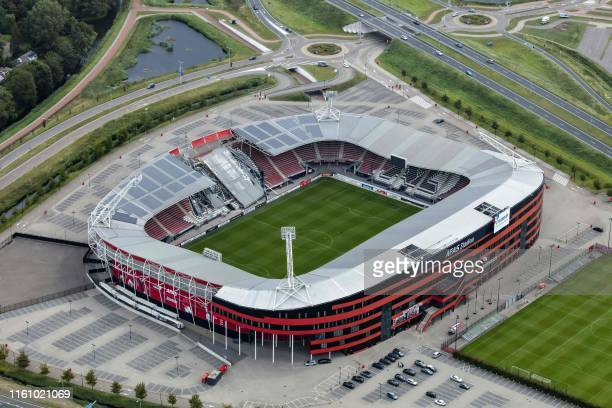 An aerial photograph taken on August 11, 2019 shows the collapsed roff of the AZ Alkmaar football club's AFAS Stadium in Alkmaar due to strong gusts...
