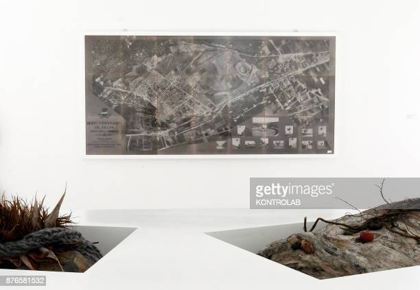 MUSEUM NAPLES CAMPANIA ITALY An aerial picture dated 1910 by Italian Airforce ere displayed by the work of Adrian Villar Rojas in the exibition...