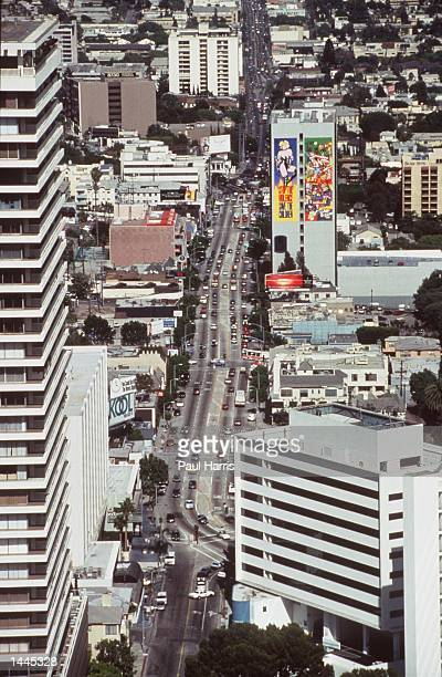An aerial picture of the famous Sunset Strip looking East Sunset Strip is a one mile section of the 27 mile long Sunset Boulevard The view is from...