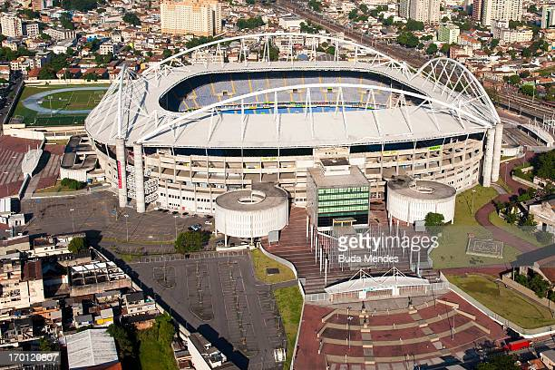 An aerial picture of the Joao Havelange Stadium which will host the athletics and opening cermony as preparations continue ahead of the 2016 Olympic...