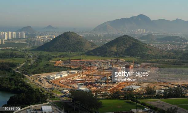 An aerial picture of the site of the athletes village in Barra as preparations continue ahead of the 2016 Olympic Games on June 6, 2013 in Rio de...