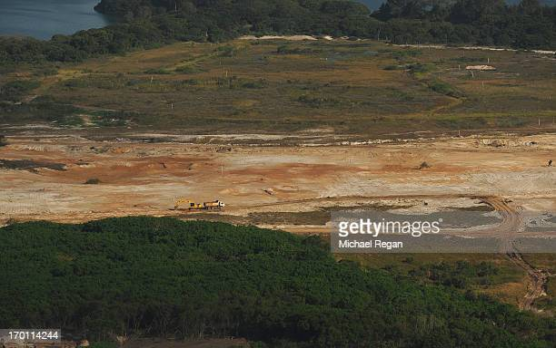 An aerial picture of the site of the Olympic golf course in Barra as preparations continue ahead of the 2016 Olympic Games on June 6, 2013 in Rio de...