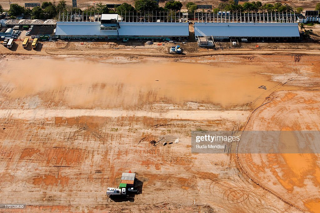 An aerial picture of the site of the Olympic Park in Barra as preparations continue ahead of the 2016 Olympic Games on June 6, 2013 in Rio de Janeiro