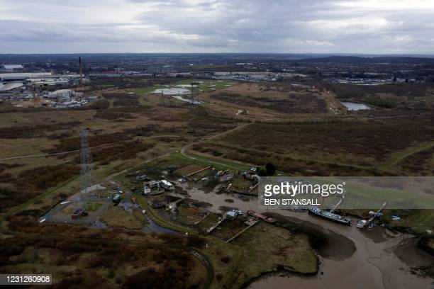 An aerial picture shows a small marina on the Swanscombe Peninsular in Kent, southeast England on February 19, 2021. - An application for a £3.5bn...