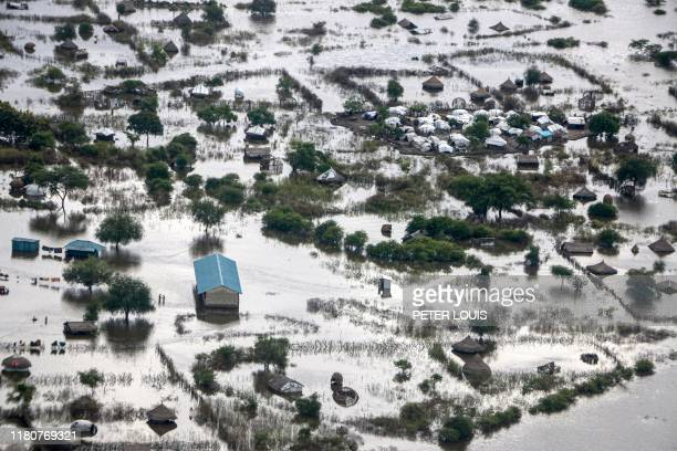An aerial picture shows flooded area that has been isolated for about a month and half due to the heavy rain in Pibor Town, Boma state, eastern South...