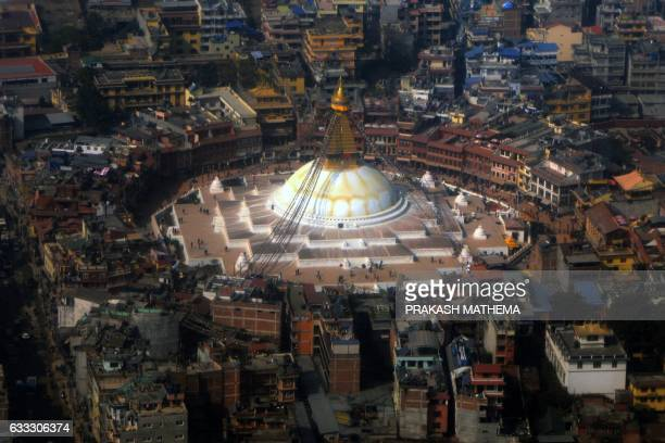 An aerial picture shows the Boudhanath Stupa in Kathmandu on February 1 during its reopening following renovation after earthquake damage Boudhanath...