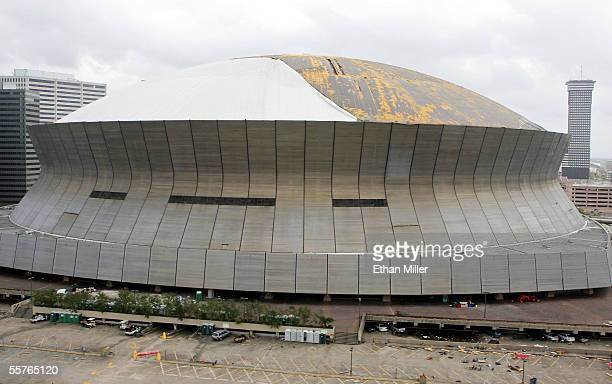 An aerial picture shows the Louisiana Superdome after it was heavily damaged by Hurricane Katrina September 24 2005 in New Orleans Louisiana The city...