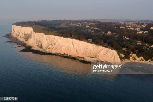 An aerial picture shows the White Cliffs at St Margaret's Bay, near Dover, south east England on September 14. 2020. - Nearly 1,500 migrants and...
