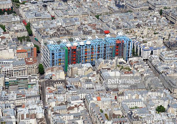 An aerial picture taken aboard an helicopter on July 20, 2010 shows a view of the Beaubourg art center in Paris. AFP PHOTO BORIS HORVAT