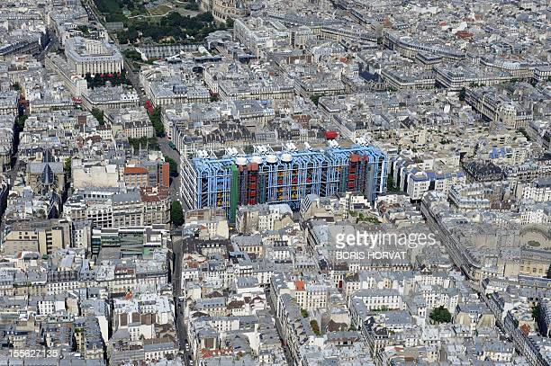 An aerial picture taken aboard an helicopter on July 20 2010 shows a view of the Centre Pompidou modern art museum in Paris AFP PHOTO BORIS HORVAT
