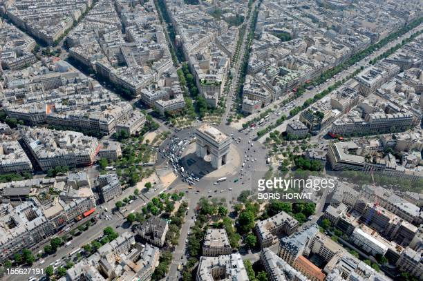 An aerial picture taken aboard an helicopter on July 20 2010 shows a view of the Arc de triomphe and the Champs Elysees avenue in Paris AFP PHOTO...