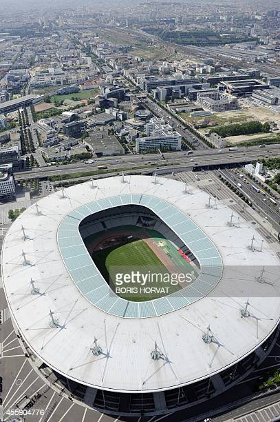 An aerial picture taken aboard an helicopter on July 20 2010 shows a view of the Stade de France in SaintDenis outside Paris AFP PHOTO BORIS HORVAT