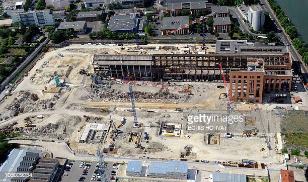 An aerial picture taken aboard an helicopter on July 20 2010 shows the undercontruction Cite du Cinema projected by French director and producer Luc...
