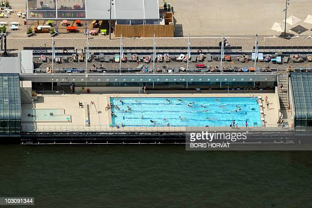 An aerial picture taken aboard an helicopter on July 20 2010 shows the Josephine Baker swimmingpool along the Seine River in Bercy in Paris AFP PHOTO...