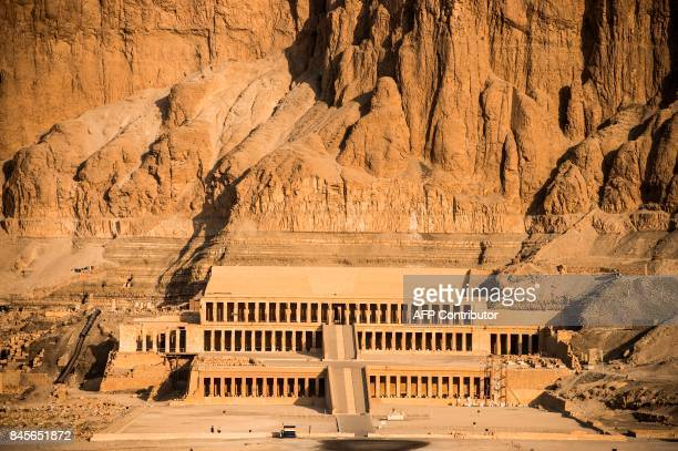 An aerial picture taken from a hot air balloon on September 10 2017 shows the Temple of Hatshepsut also known as the DjeserDjeseru in the southern...