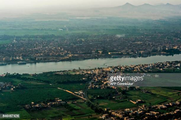 An aerial picture taken from a hot air balloon on September 10 2017 shows a view of the Nile as it flows through the southern Egyptian city of Luxor...