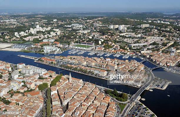 An aerial picture taken on August 18 2011 shows a general view of the southern French city of Martigues AFP PHOTO / GERARD JULIEN