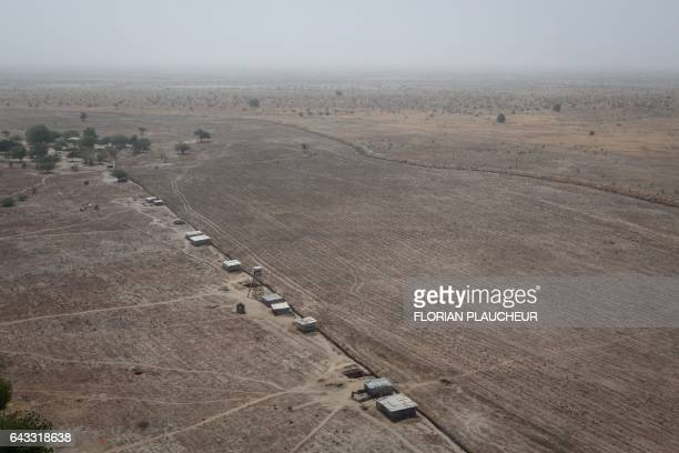 An aerial picture taken on February 14 2017 at Monguno district of Borno State shows an aircraft runway The Nigerian airforce has constructed a...