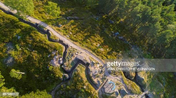 An aerial picture taken on July 11 2018 near Orbey eastern France shows the site of the World War One battlefield at the Collet du Linge in the...