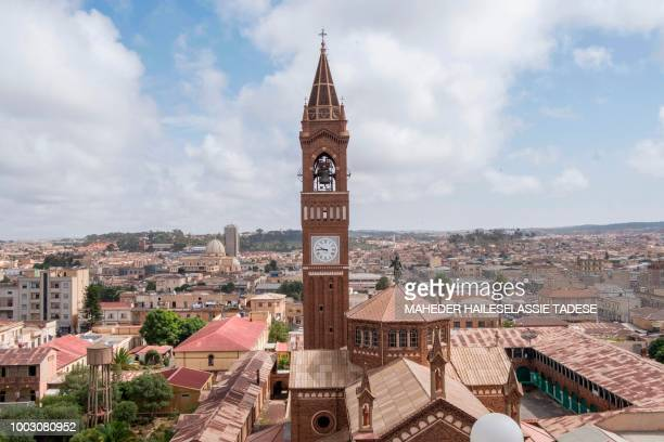 An aerial picture taken on July 21, 2018 shows a view of the Eritrean capital, Asmara with the St. Mary Cathedral tower. - Ethiopia and Eritrea...