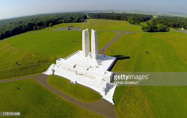 An aerial picture taken on July 8 2013 in Vimy northern France shows the newly restored Canadian National Vimy Memorial dedicated to the 3598...