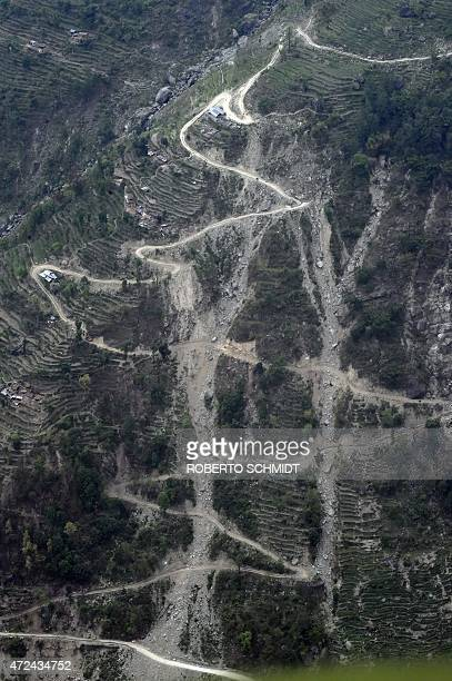 An aerial picture taken on May 7 2015 shows landslides that were triggered by an earthquake in Nepal in a valley leading up to the wiped out village...