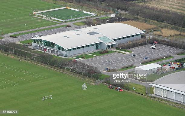 An aerial shot of Manchester United's Carrington Training Ground taken ahead of the Barclays Premiership match between Manchester United and...