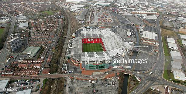 An aerial shot of Old Trafford taken ahead of the Barclays Premiership match between Manchester United and Birmingham City during which a new...
