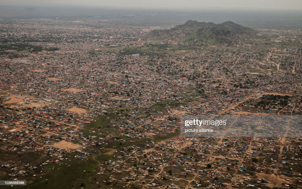 An aerial shot of the capital, Juba, South Sudan almost five