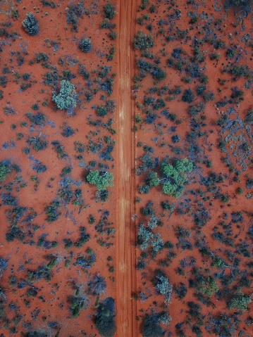 An Aerial shot of the red centre roads in the Australian Outback - gettyimageskorea