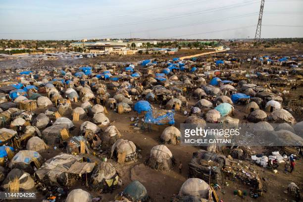 An aerial shows an Internally Displaced People's camp in Faladie where nearly 800 IDPs have found refuge after fleeing intercommunal violence in...
