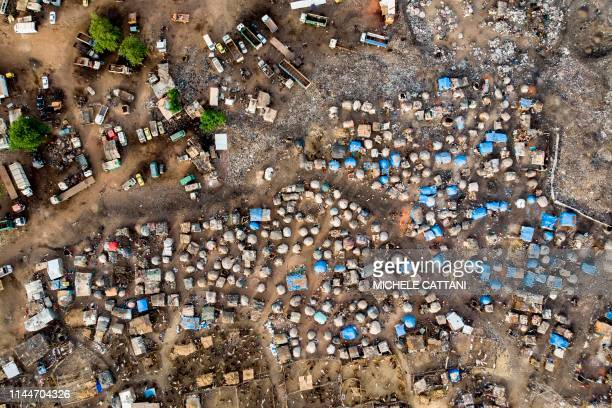 An aerial shows an Internally Displaced People's camp in Faladie, where nearly 800 IDPs have found refuge after fleeing inter-communal violence in...