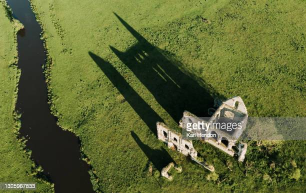 an aerial sunset view newark abbey ruins, surrey - stock photo - british royalty stock pictures, royalty-free photos & images