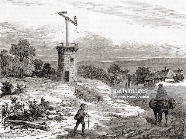 An aerial telegraph post in the 18th century. From Les Merveilles de la Science, published c.1870