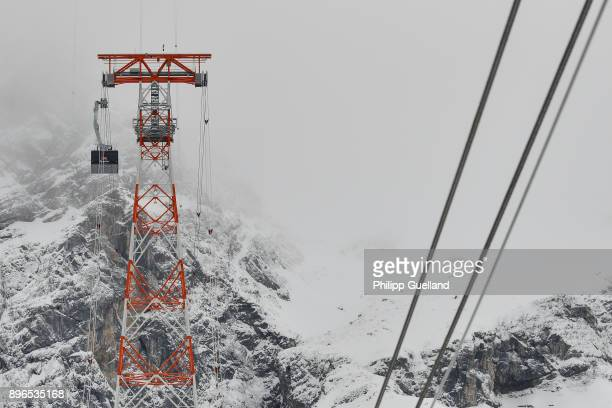 An aerial tramway of the new 'Eibsee Seilbahn' cable car connection is seen on its way to the Zugspitze peak on the system's inauguration day on...