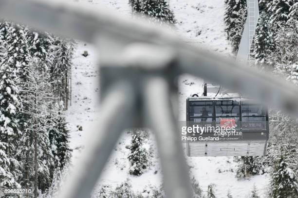 An aerial tramway of the new 'Eibsee Seilbahn' cable car connection departs for the Zugspitze peak on the system's inauguration day on December 21...